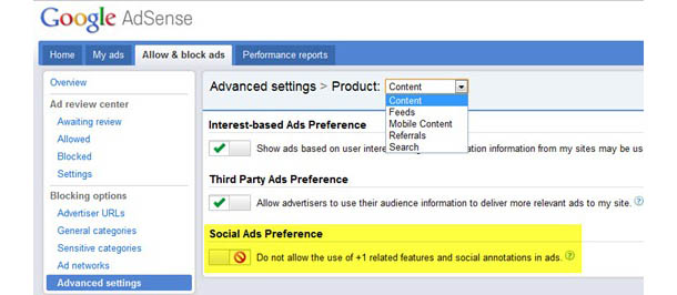 Removing Plus One from AdSense